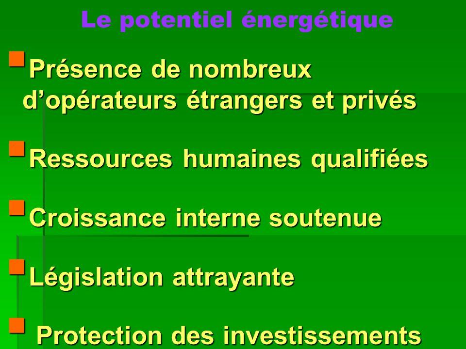 Le potentiel énergétique Présence de nombreux dopérateurs étrangers et privés Présence de nombreux dopérateurs étrangers et privés Ressources humaines