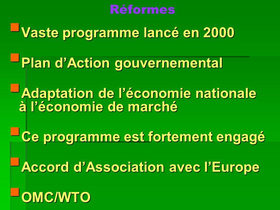 Réformes Vaste programme lancé en 2000 Vaste programme lancé en 2000 Plan dAction gouvernemental Plan dAction gouvernemental Adaptation de léconomie n