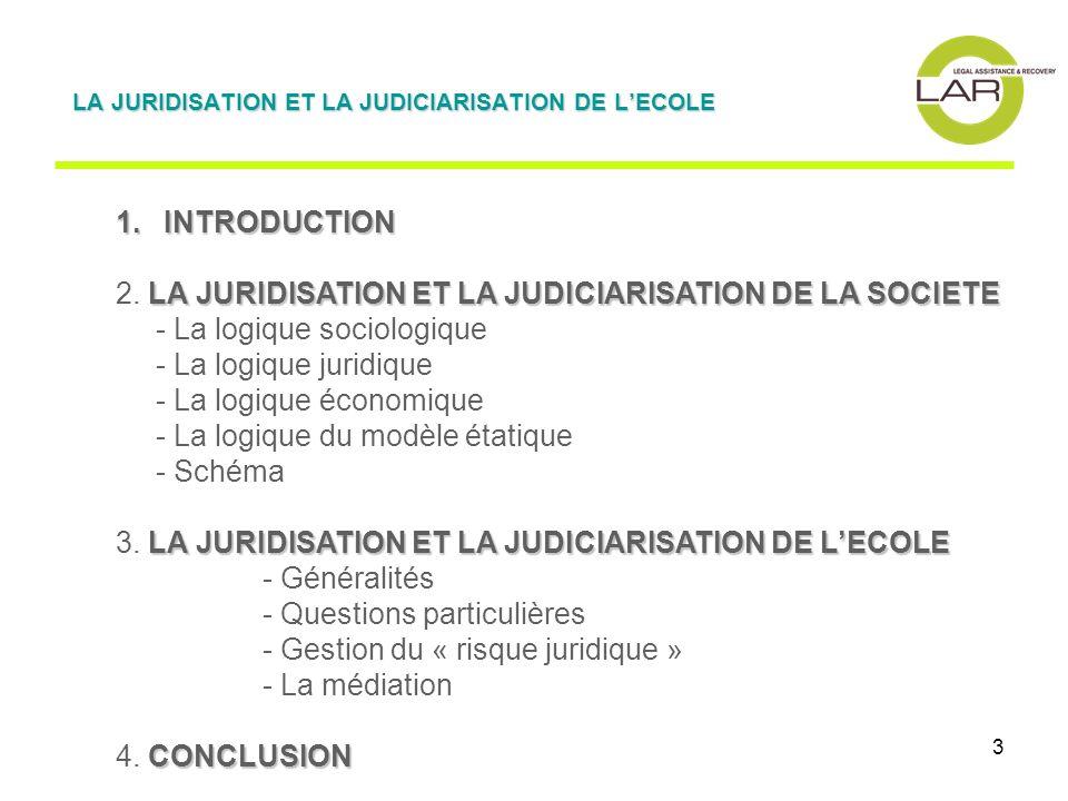 3 1. INTRODUCTION LA JURIDISATION ET LA JUDICIARISATION DE LA SOCIETE 2. LA JURIDISATION ET LA JUDICIARISATION DE LA SOCIETE - La logique sociologique