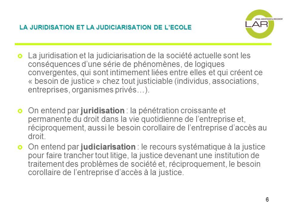 6 La juridisation et la judiciarisation de la société actuelle sont les conséquences dune série de phénomènes, de logiques convergentes, qui sont intimement liées entre elles et qui créent ce « besoin de justice » chez tout justiciable (individus, associations, entreprises, organismes privés…).