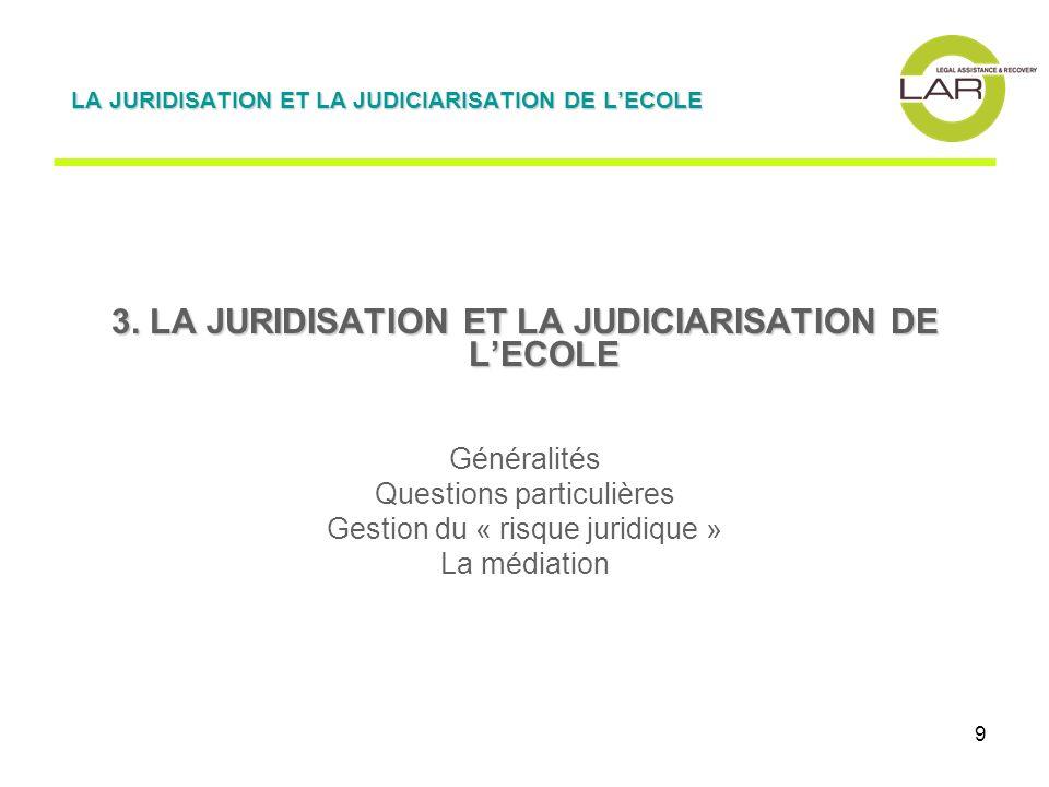 9 3. LA JURIDISATION ET LA JUDICIARISATION DE LECOLE Généralités Questions particulières Gestion du « risque juridique » La médiation LA JURIDISATION