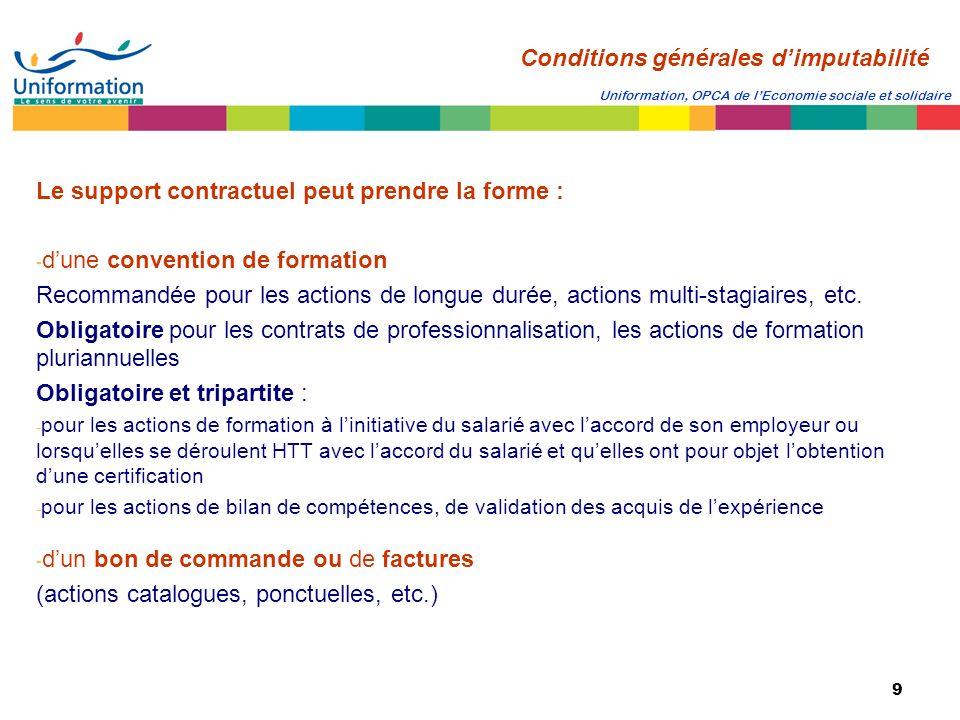 9 Uniformation, OPCA de lEconomie sociale et solidaire Le support contractuel peut prendre la forme : - dune convention de formation Recommandée pour