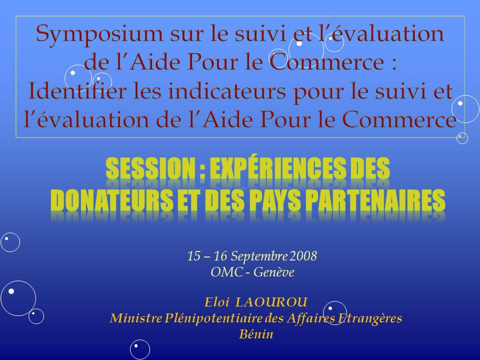 15 – 16 Septembre 2008 OMC - Genève Eloi LAOUROU Ministre Plénipotentiaire des Affaires Etrangères Bénin