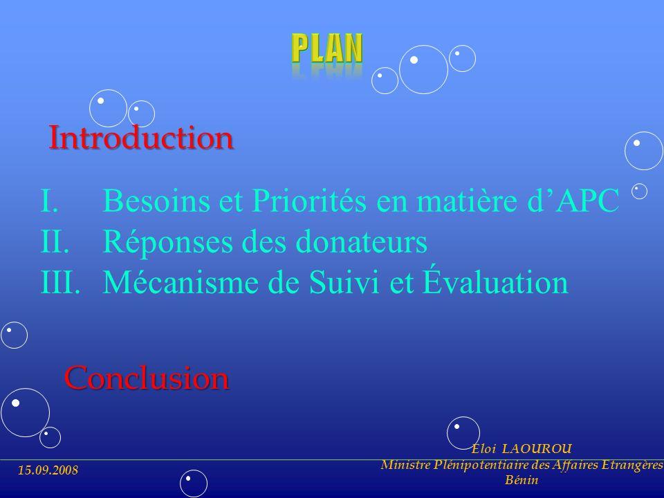 15.09.2008 Eloi LAOUROU Ministre Plénipotentiaire des Affaires Etrangères Bénin I.Besoins et Priorités en matière dAPC II.Réponses des donateurs III.M