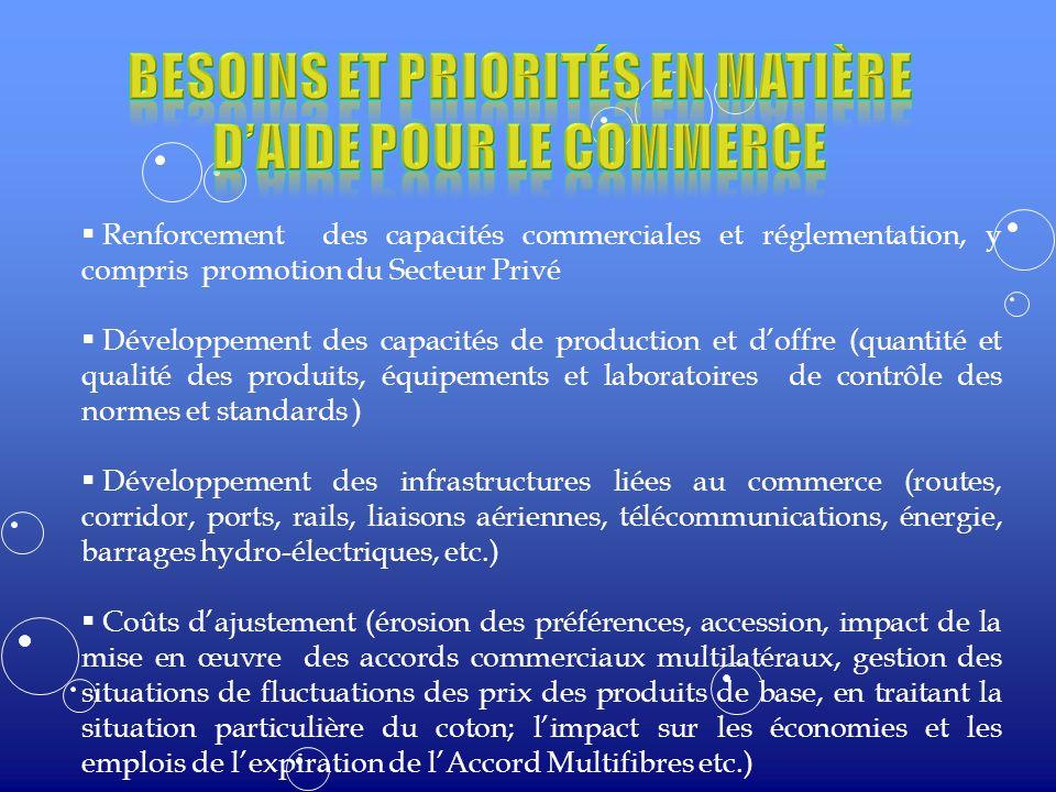 Renforcement des capacités commerciales et réglementation, y compris promotion du Secteur Privé Développement des capacités de production et doffre (q