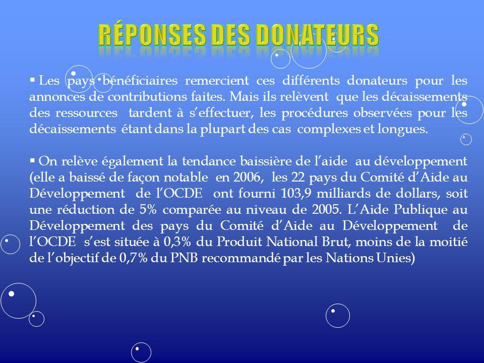 Les pays bénéficiaires remercient ces différents donateurs pour les annonces de contributions faites.
