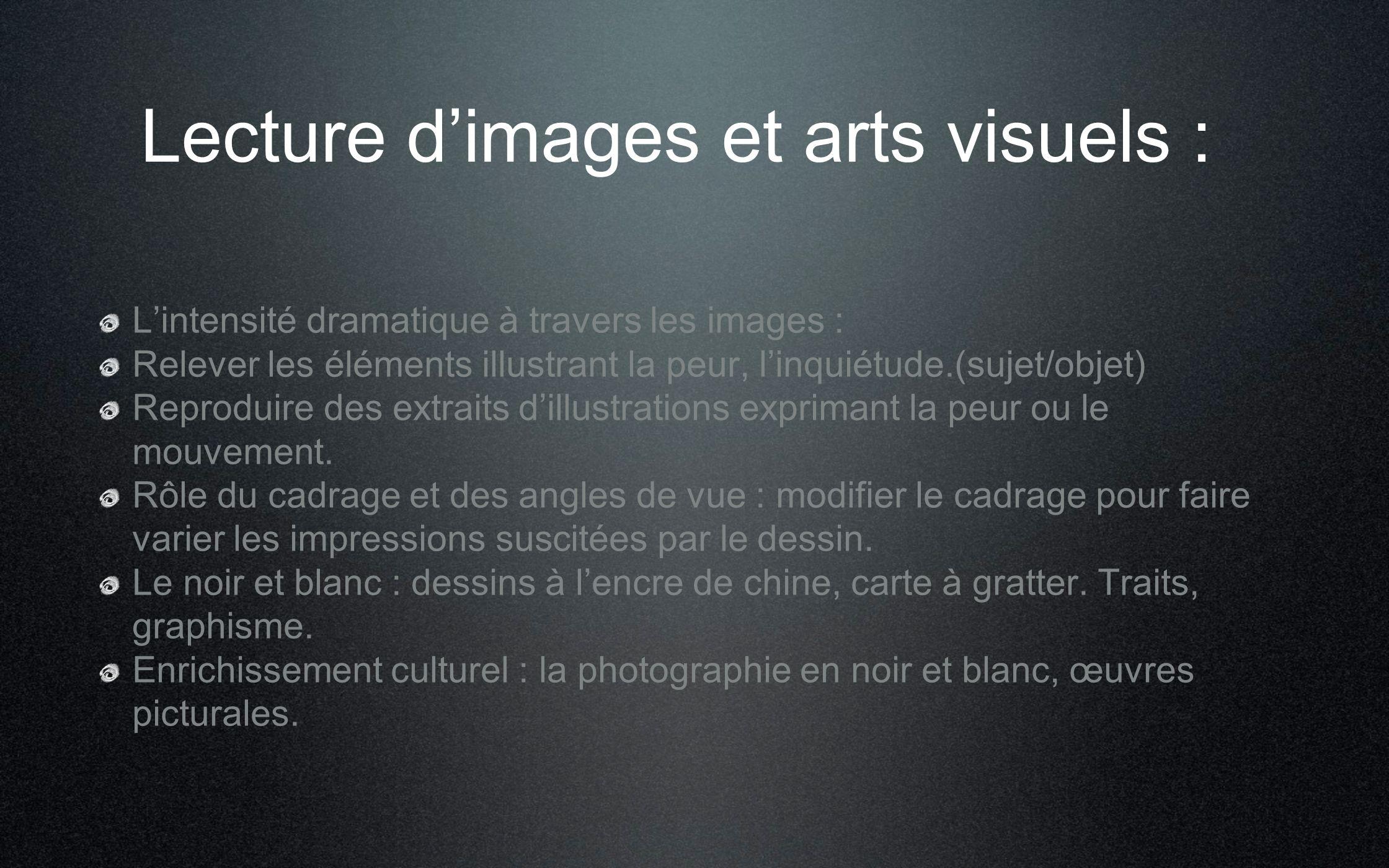 Lecture dimages et arts visuels : Lintensité dramatique à travers les images : Relever les éléments illustrant la peur, linquiétude.(sujet/objet) Repr