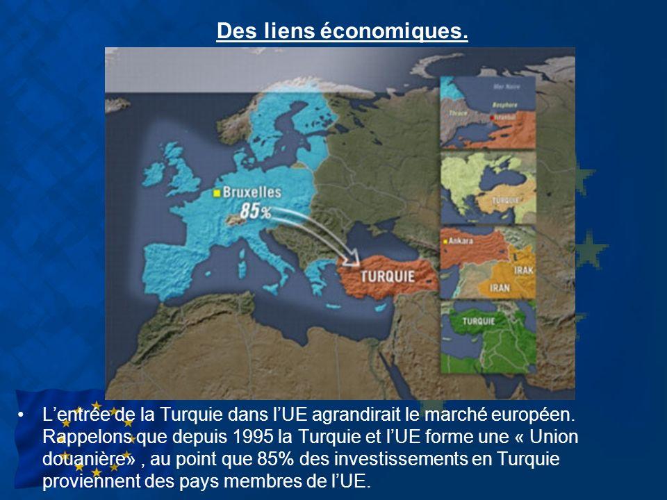 Des liens économiques. Lentrée de la Turquie dans lUE agrandirait le marché européen. Rappelons que depuis 1995 la Turquie et lUE forme une « Union do