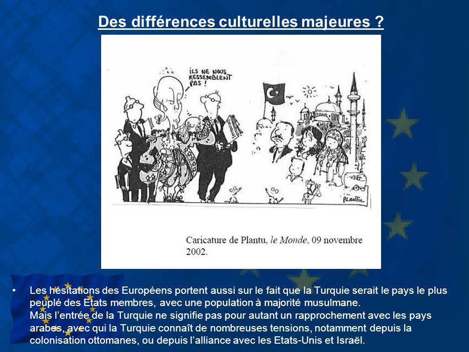 Des différences culturelles majeures ? Les hésitations des Européens portent aussi sur le fait que la Turquie serait le pays le plus peuplé des Etats