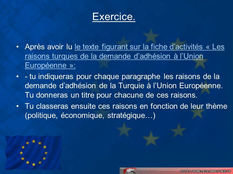 Exercice. Après avoir lu le texte figurant sur la fiche dactivités « Les raisons turques de la demande dadhésion à lUnion Européenne »:le texte figura