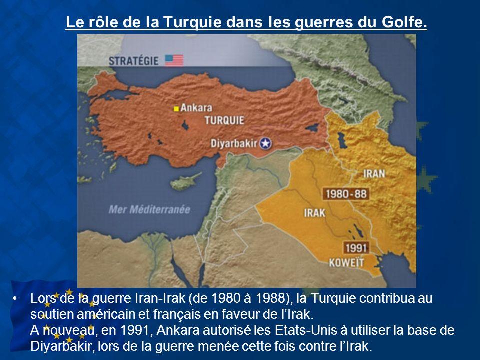 Le rôle de la Turquie dans les guerres du Golfe. Lors de la guerre Iran-Irak (de 1980 à 1988), la Turquie contribua au soutien américain et français e
