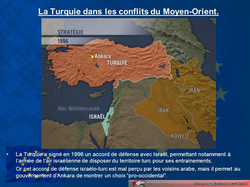 La Turquie dans les conflits du Moyen-Orient. La Turquie a signé en 1996 un accord de défense avec Israël, permettant notamment à larmée de lair israé