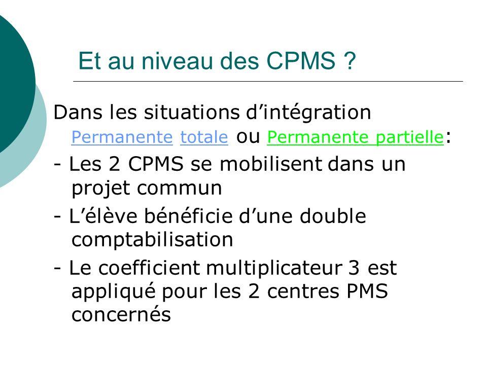 Et au niveau des CPMS ? Dans les situations dintégration Permanente totale ou Permanente partielle : - Les 2 CPMS se mobilisent dans un projet commun