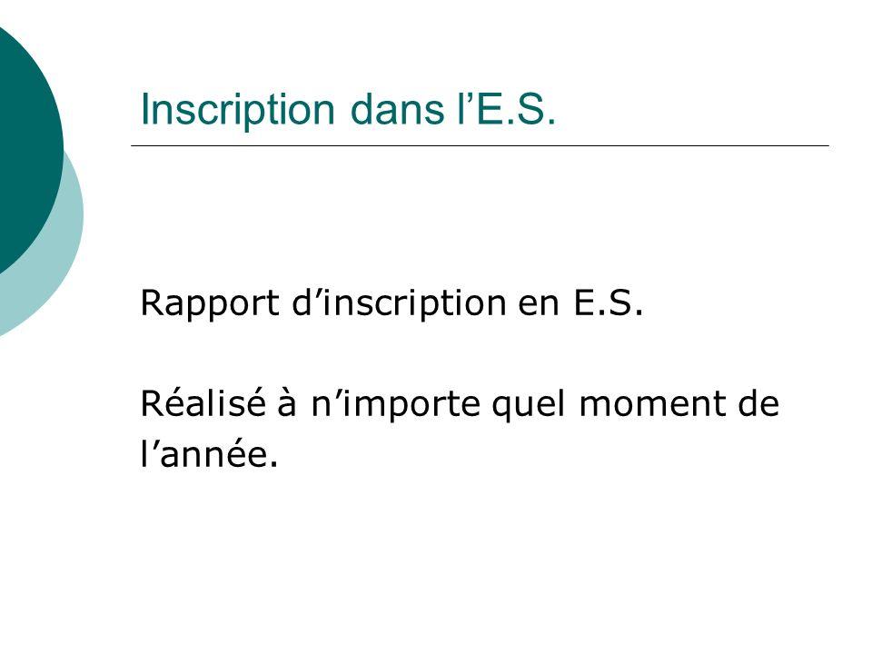 Inscription dans lE.S. Rapport dinscription en E.S. Réalisé à nimporte quel moment de lannée.