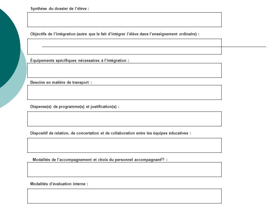 Synthèse du dossier de lélève : Objectifs de lintégration (autre que le fait dintégrer lélève dans lenseignement ordinaire) : Équipements spécifiques
