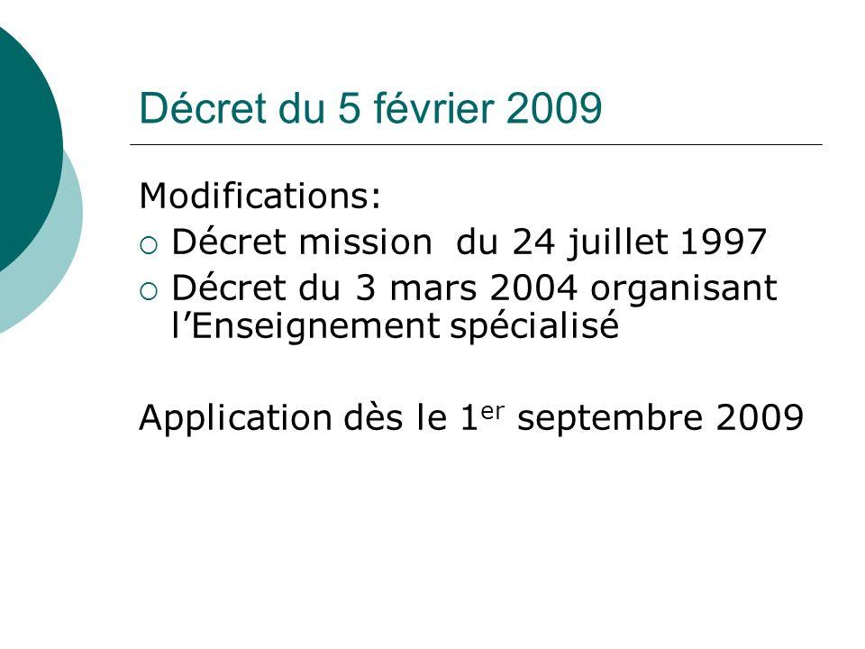 Décret du 5 février 2009 Modifications: Décret mission du 24 juillet 1997 Décret du 3 mars 2004 organisant lEnseignement spécialisé Application dès le