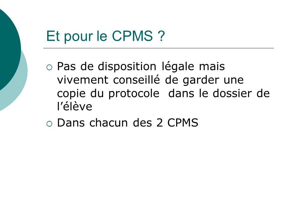 Et pour le CPMS ? Pas de disposition légale mais vivement conseillé de garder une copie du protocole dans le dossier de lélève Dans chacun des 2 CPMS