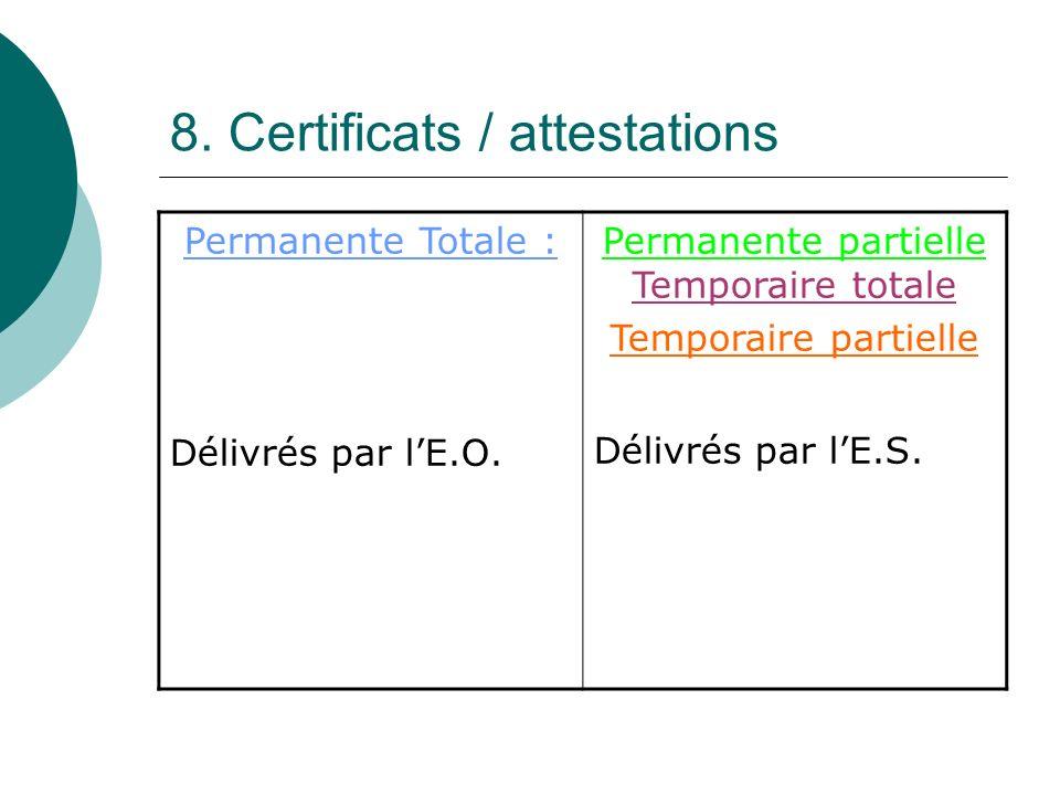 8. Certificats / attestations Permanente Totale : Délivrés par lE.O. Permanente partielle Temporaire totale Temporaire partielle Délivrés par lE.S.