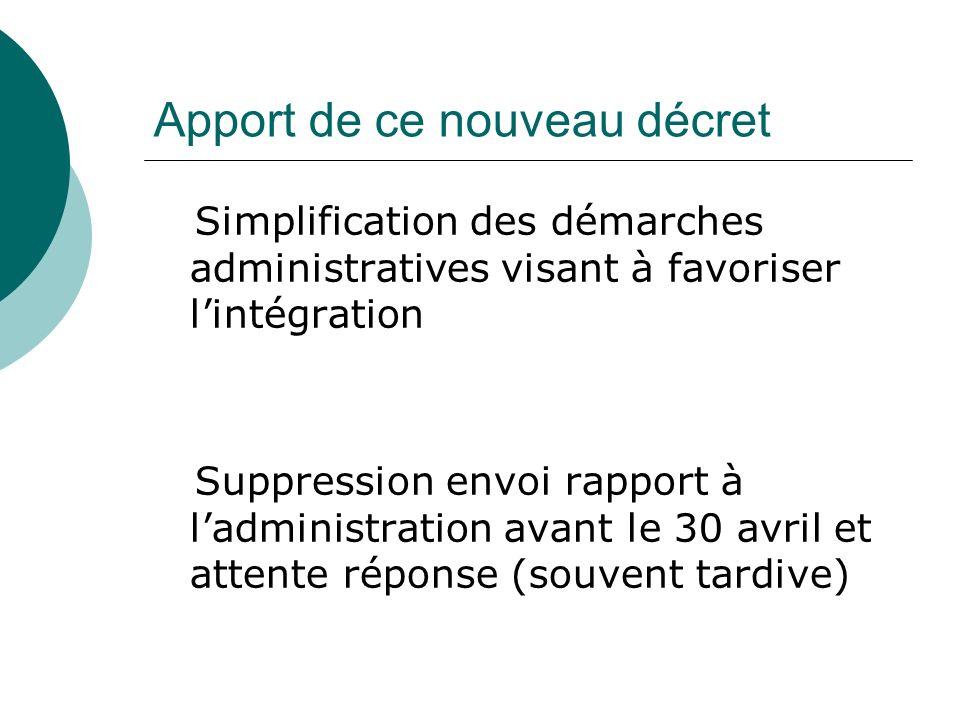 Apport de ce nouveau décret Simplification des démarches administratives visant à favoriser lintégration Suppression envoi rapport à ladministration avant le 30 avril et attente réponse (souvent tardive)