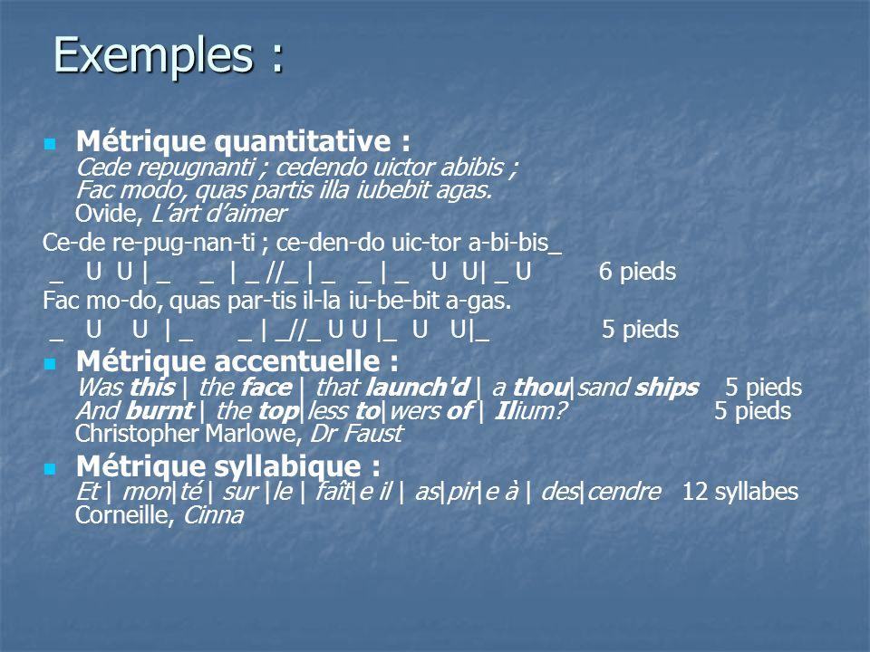 Exemples : Métrique quantitative : Cede repugnanti ; cedendo uictor abibis ; Fac modo, quas partis illa iubebit agas. Ovide, Lart daimer Ce-de re-pug-