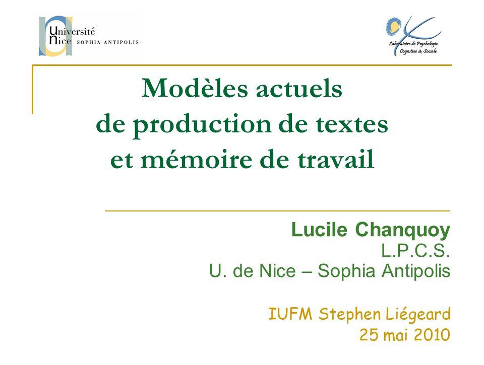 Modèles actuels de production de textes et mémoire de travail Lucile Chanquoy L.P.C.S. U. de Nice – Sophia Antipolis IUFM Stephen Liégeard 25 mai 2010