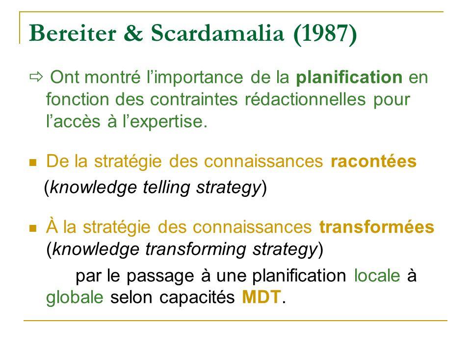 Bereiter & Scardamalia (1987) Ont montré limportance de la planification en fonction des contraintes rédactionnelles pour laccès à lexpertise. De la s