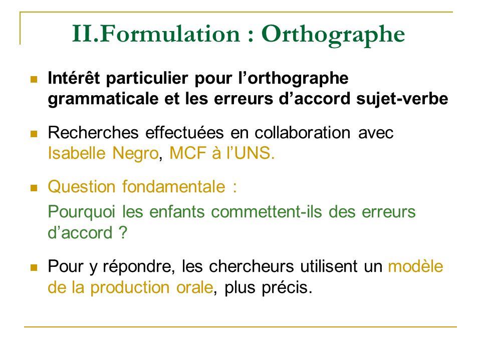 II.Formulation : Orthographe Intérêt particulier pour lorthographe grammaticale et les erreurs daccord sujet-verbe Recherches effectuées en collaborat