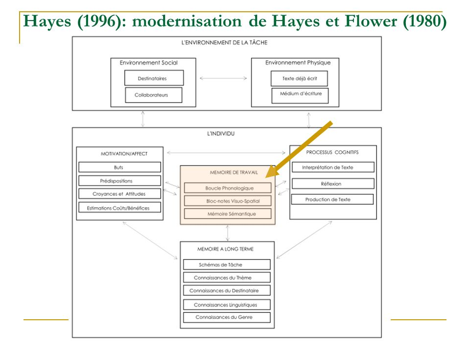 Actuellement: Modèle de Kellogg (1996) Brown, McDonald, Brown et Carr (1988) Baddeley et Hitch (1974)