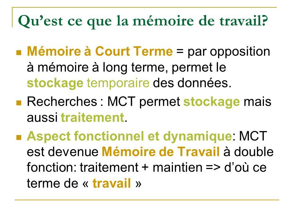 Quest ce que la mémoire de travail? Mémoire à Court Terme = par opposition à mémoire à long terme, permet le stockage temporaire des données. Recherch
