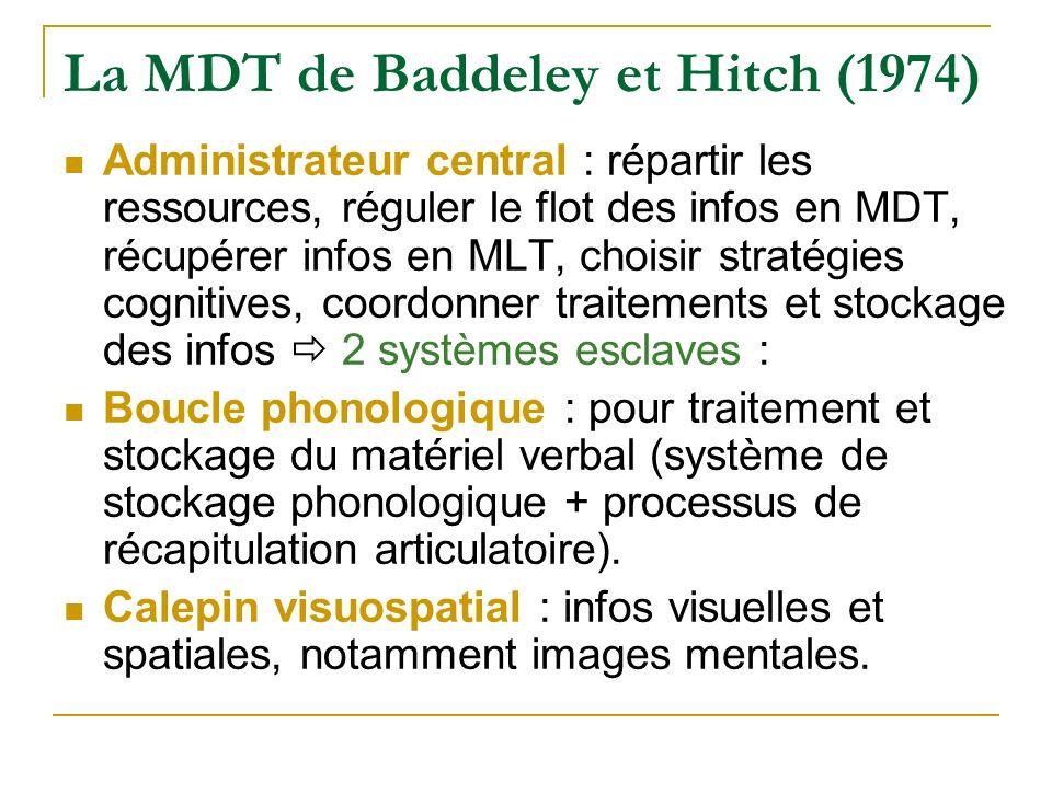 La MDT de Baddeley et Hitch (1974) Administrateur central : répartir les ressources, réguler le flot des infos en MDT, récupérer infos en MLT, choisir