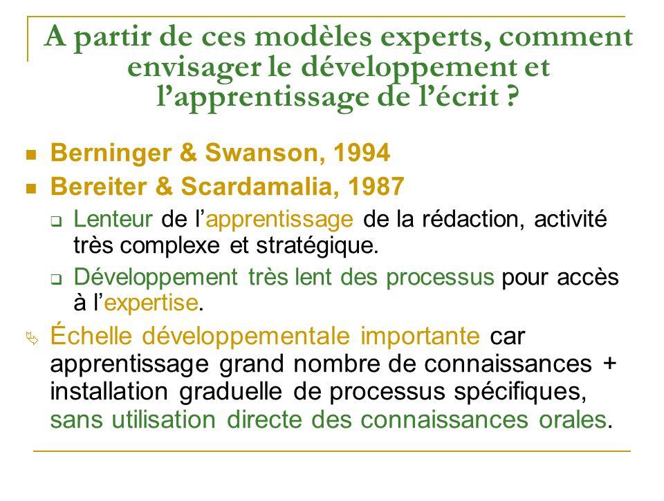 A partir de ces modèles experts, comment envisager le développement et lapprentissage de lécrit ? Berninger & Swanson, 1994 Bereiter & Scardamalia, 19