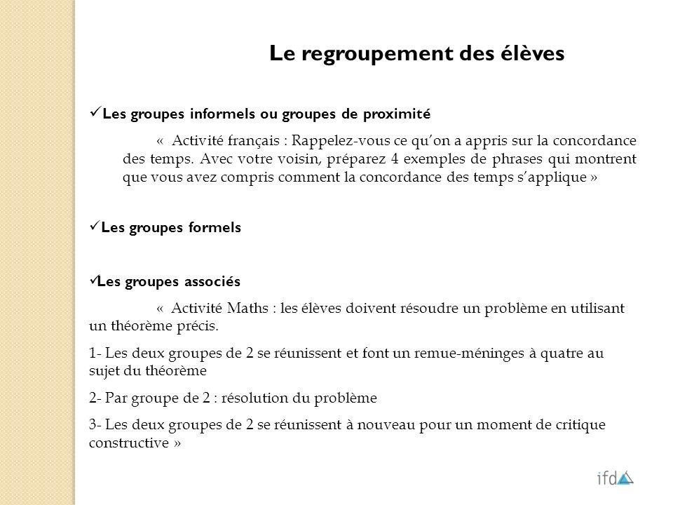Le regroupement des élèves Les groupes informels ou groupes de proximité « Activité français : Rappelez-vous ce quon a appris sur la concordance des t