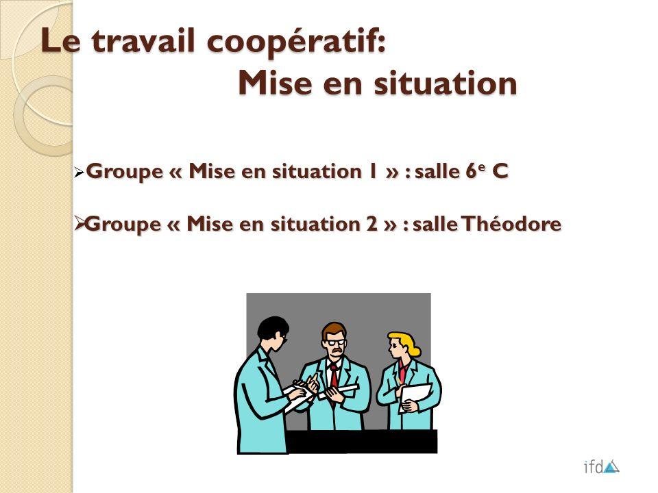Le travail coopératif: Mise en situation Groupe « Mise en situation 1 » : salle 6 e C Groupe « Mise en situation 2 » : salle Théodore Groupe « Mise en