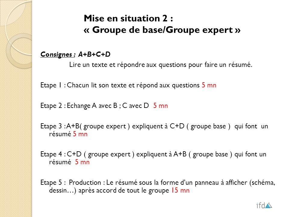 Mise en situation 2 : « Groupe de base/Groupe expert » Consignes : A+B+C+D Lire un texte et répondre aux questions pour faire un résumé. Etape 1 : Cha