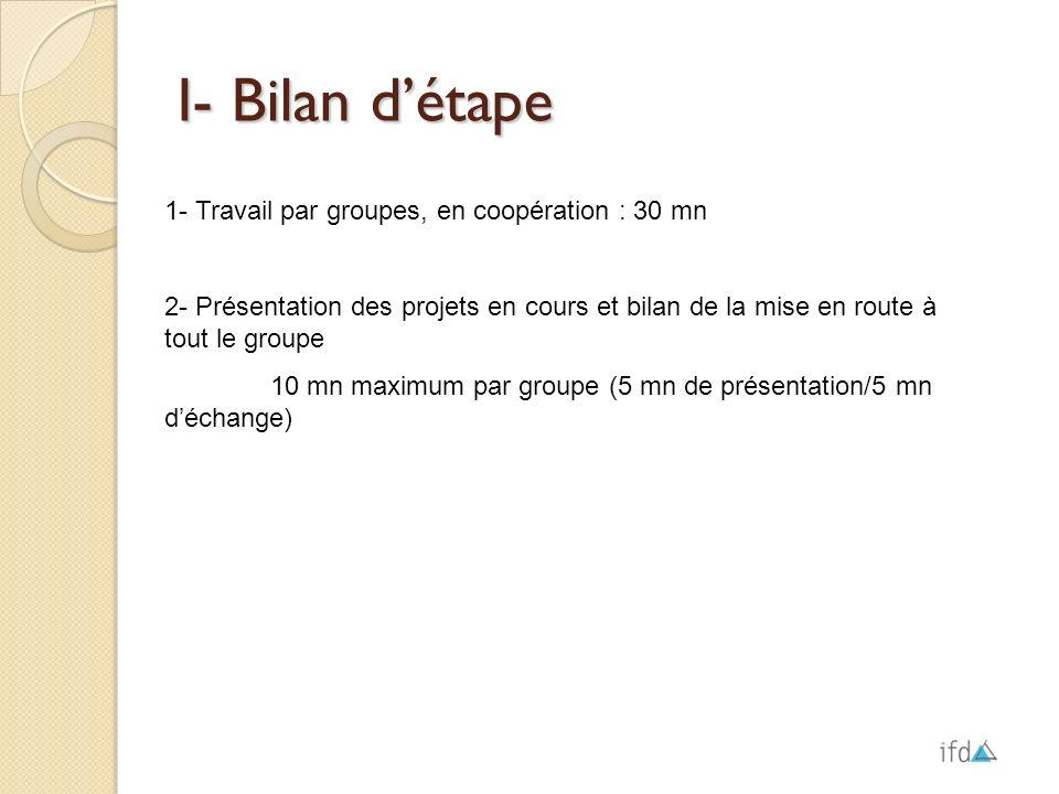 I- Bilan détape 1- Travail par groupes, en coopération : 30 mn 2- Présentation des projets en cours et bilan de la mise en route à tout le groupe 10 m
