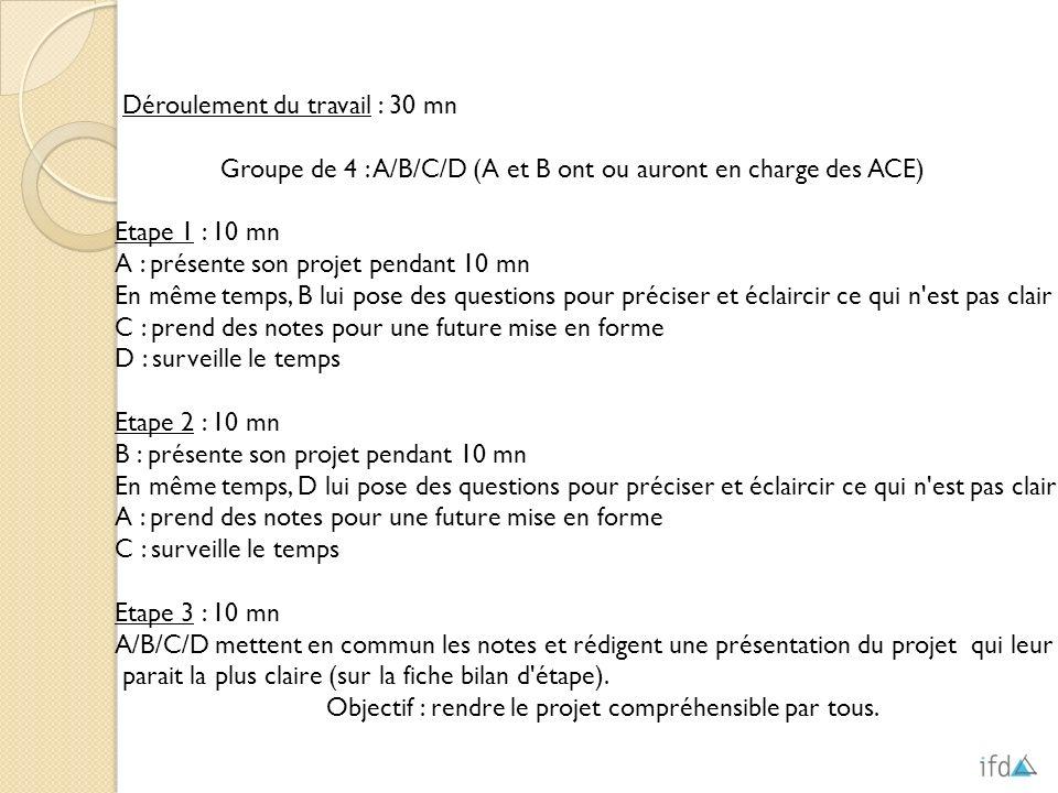 Déroulement du travail : 30 mn Groupe de 4 : A/B/C/D (A et B ont ou auront en charge des ACE) Etape 1 : 10 mn A : présente son projet pendant 10 mn En