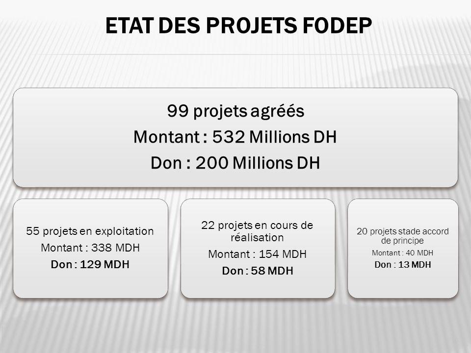 ETAT DES PROJETS FODEP 10 99 projets agréés Montant : 532 Millions DH Don : 200 Millions DH 55 projets en exploitation Montant : 338 MDH Don : 129 MDH