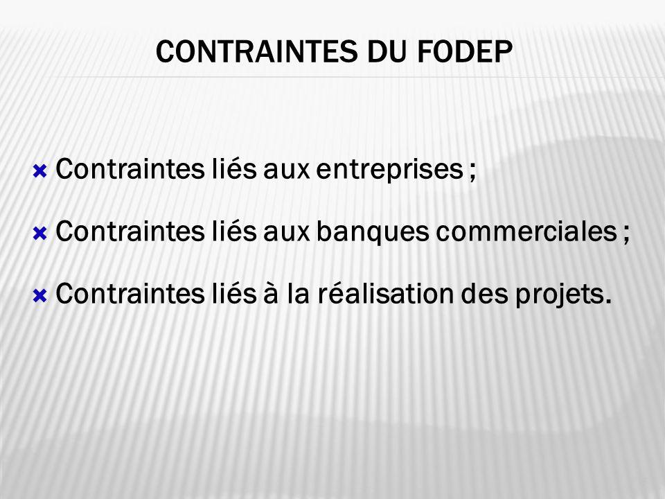 CONTRAINTES DU FODEP 16 Contraintes liés aux entreprises ; Contraintes liés aux banques commerciales ; Contraintes liés à la réalisation des projets.