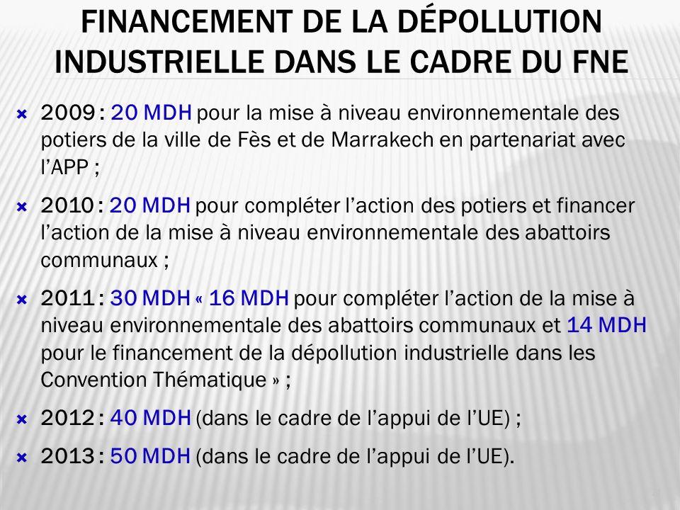 FINANCEMENT DE LA DÉPOLLUTION INDUSTRIELLE DANS LE CADRE DU FNE 21 2009 : 20 MDH pour la mise à niveau environnementale des potiers de la ville de Fès