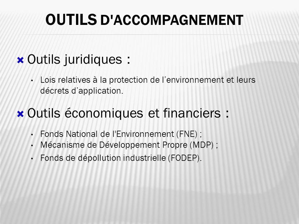 Outils juridiques : Lois relatives à la protection de lenvironnement et leurs décrets dapplication. Outils économiques et financiers : Fonds National