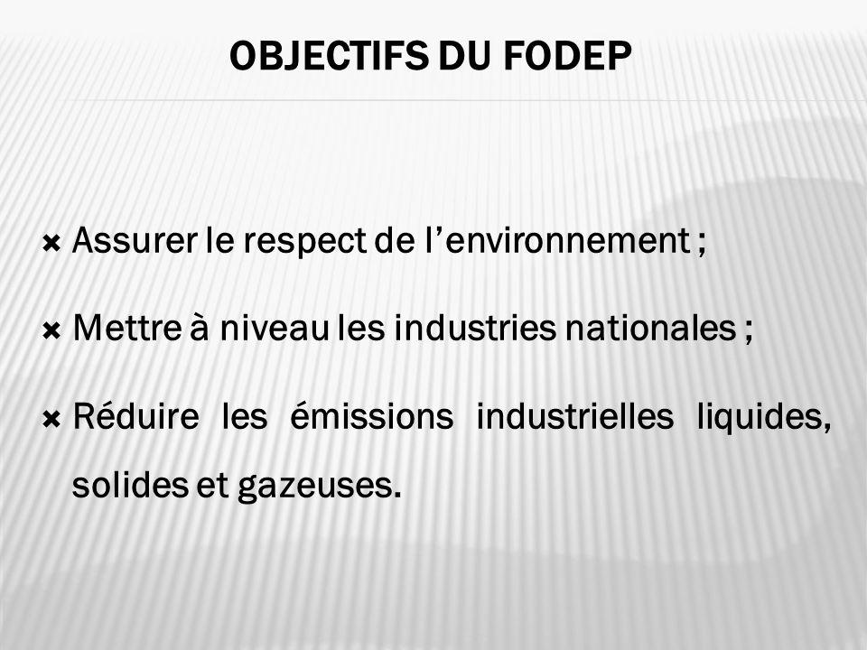OBJECTIFS DU FODEP Assurer le respect de lenvironnement ; Mettre à niveau les industries nationales ; Réduire les émissions industrielles liquides, so