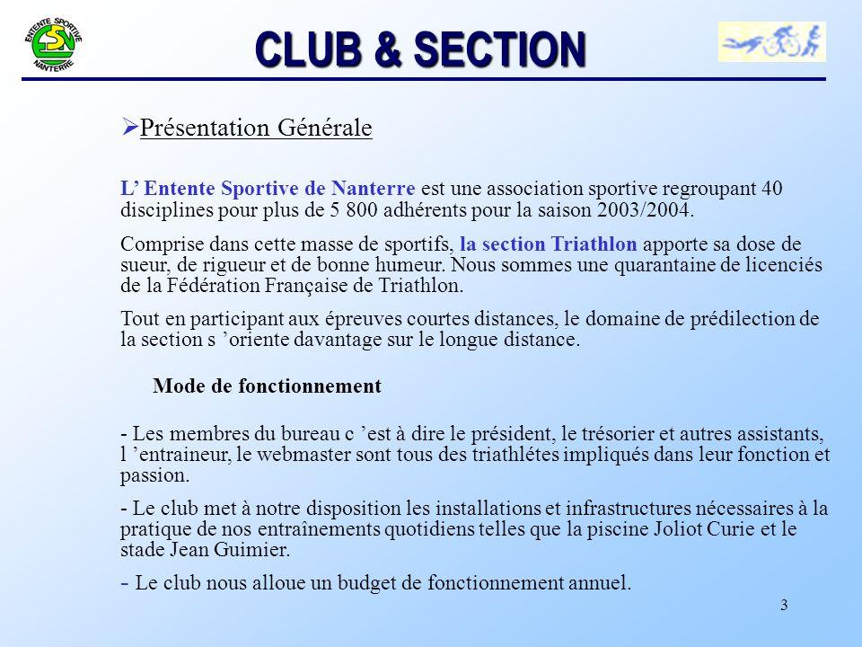 3 CLUB & SECTION Ø Présentation Générale L Entente Sportive de Nanterre est une association sportive regroupant 40 disciplines pour plus de 5 800 adhérents pour la saison 2003/2004.
