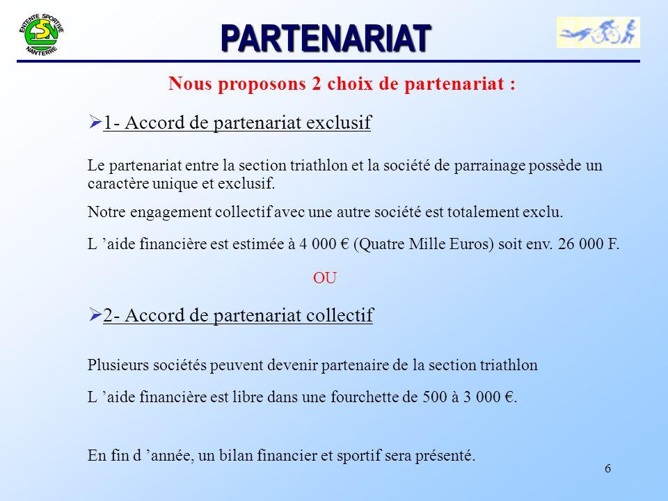 6 Nous proposons 2 choix de partenariat : Ø 1- Accord de partenariat exclusif Le partenariat entre la section triathlon et la société de parrainage possède un caractère unique et exclusif.