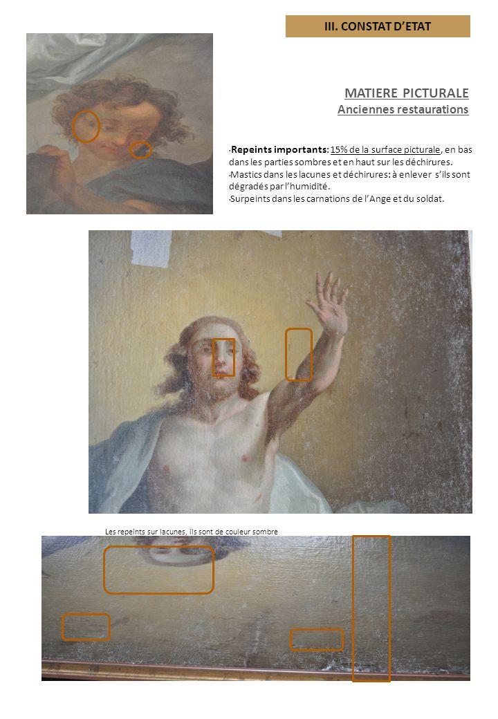 MATIERE PICTURALE Anciennes restaurations Surpeints pour masquer les usure s: 20% de la surface picturale, les pigments de couleurs sombres tels que les « terres », les noirs et glacis.