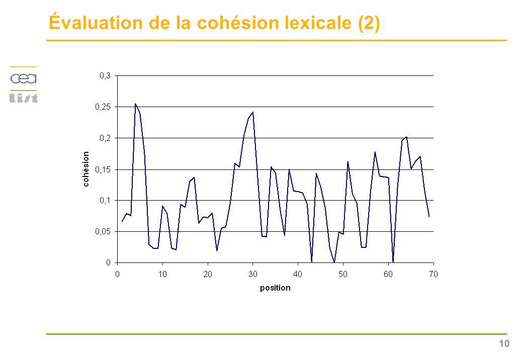 10 Évaluation de la cohésion lexicale (2)