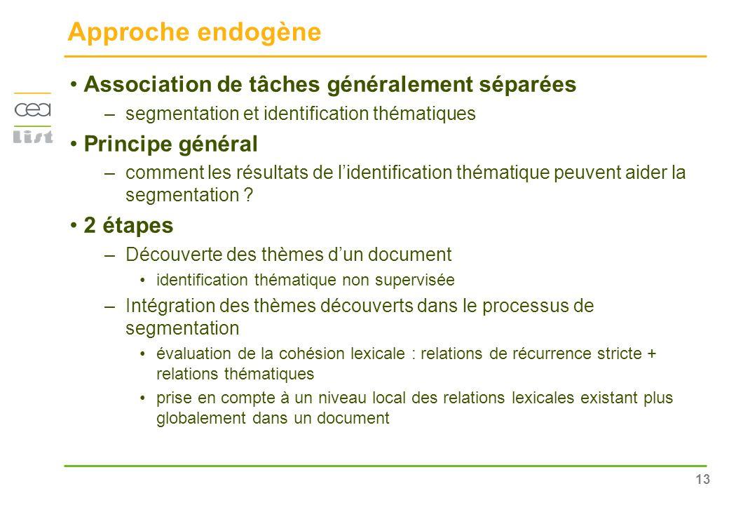13 Approche endogène Association de tâches généralement séparées –segmentation et identification thématiques Principe général –comment les résultats d