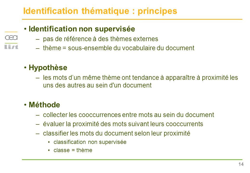 14 Identification thématique : principes Identification non supervisée –pas de référence à des thèmes externes –thème = sous-ensemble du vocabulaire d