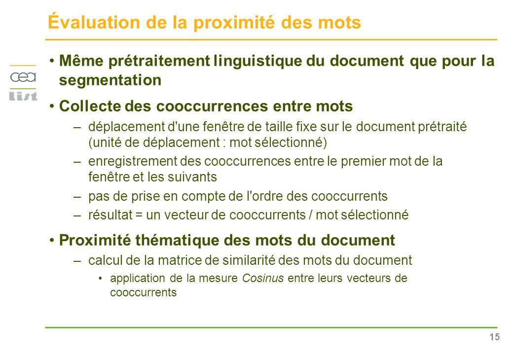 15 Évaluation de la proximité des mots Même prétraitement linguistique du document que pour la segmentation Collecte des cooccurrences entre mots –dép