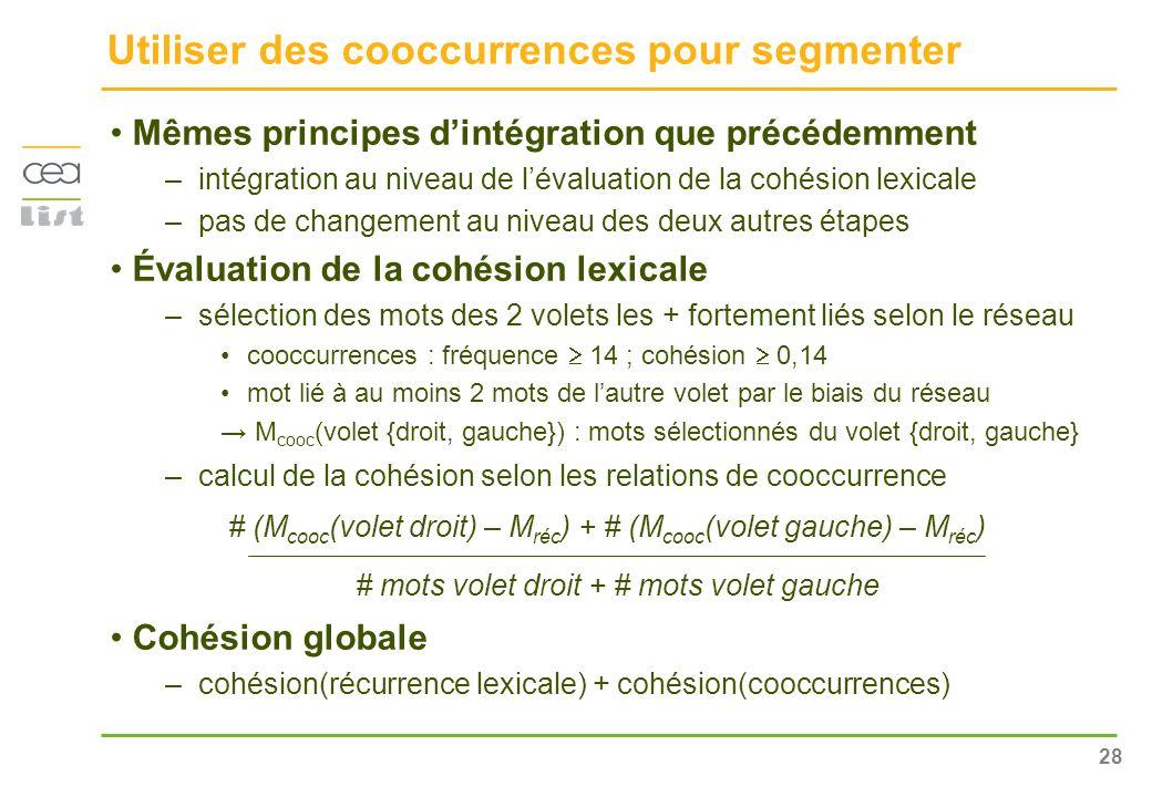 28 Utiliser des cooccurrences pour segmenter Mêmes principes dintégration que précédemment –intégration au niveau de lévaluation de la cohésion lexica
