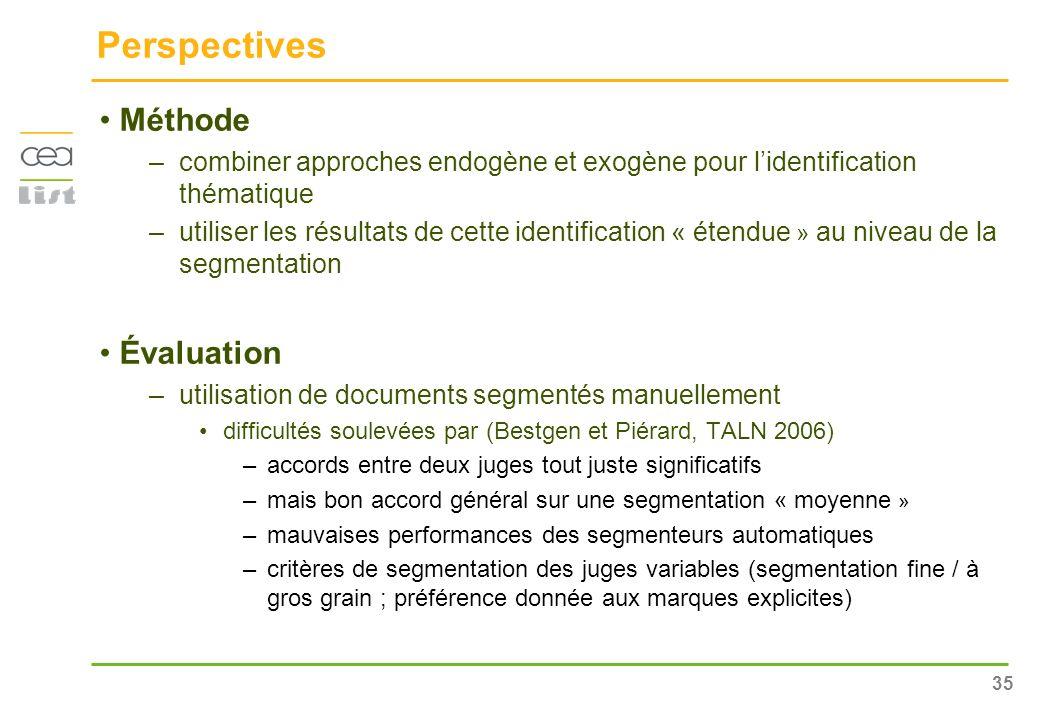 35 Perspectives Méthode –combiner approches endogène et exogène pour lidentification thématique –utiliser les résultats de cette identification « éten